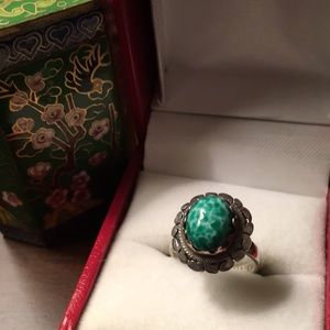Vintage Mexican Peking Glass Ring